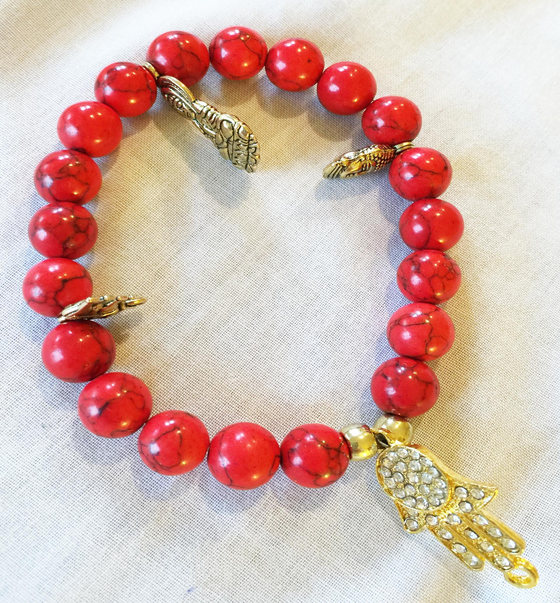 precios increibles 50% rebajado revisa Pulsera Coral Rojo 8 mm elaborado a mano favorece la paz y serenidad